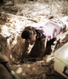 Charissa de Bekker digging up an ant nest