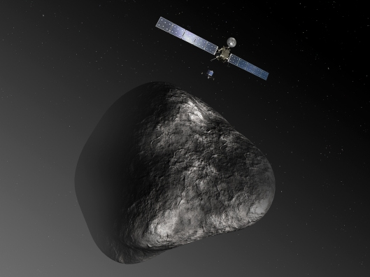 Artist's depiction of Rosetta and Philae at the comet